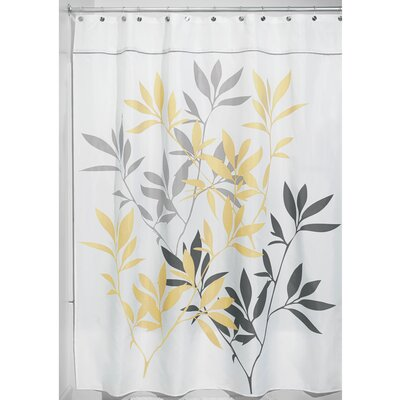 Leaves Shower Curtain Color: Yellow/Gray