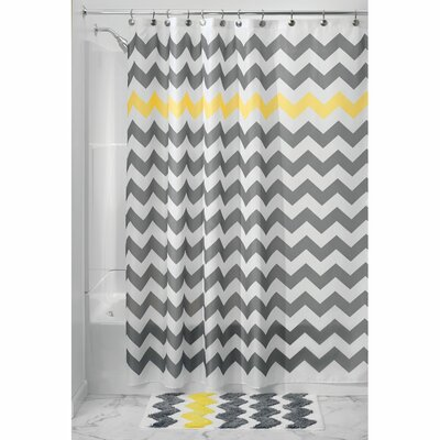 Chevron Shower Curtain Color: Gray/Yellow