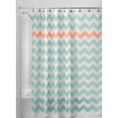 Chevron Shower Curtain Color: Aruba/Coral