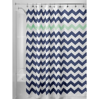 Chevron Shower Curtain Color: Navy/Mint