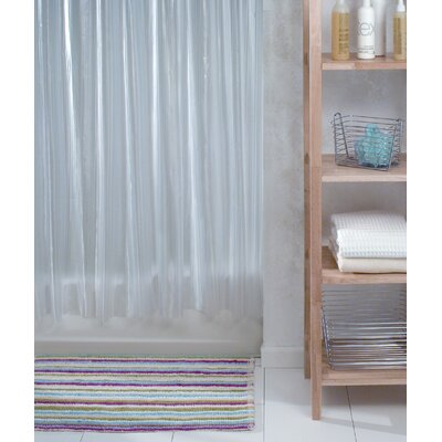 Zia Vinyl Shower Curtain Color: Clear