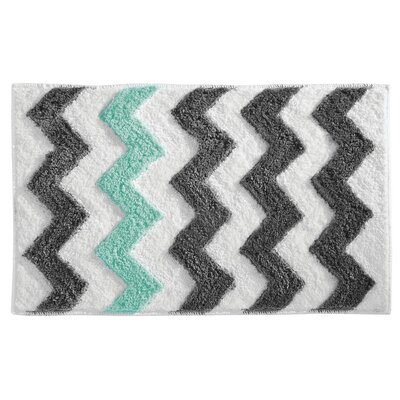 Chevron Bath Rug Color: Gray/Aruba