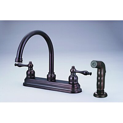 Double Handle Kitchen Faucet with Side Spray and Soap Dis Finish: Classic Bronze
