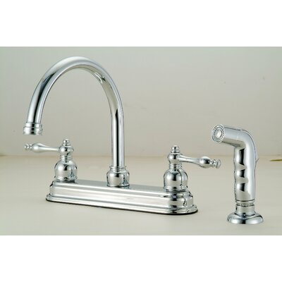 Double Handle Kitchen Faucet with Side Spray and Soap Dis Finish: Chrome
