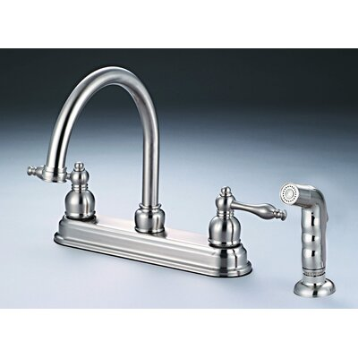 2 Handle Deck Mounted Standard Kitchen Faucet with Side Spray Finish: Satin Nickel