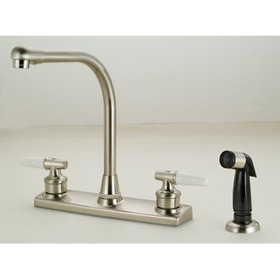 Double Handle Deck Mounted Standard Kitchen Faucet with Side Spray Finish: Satin Nickel
