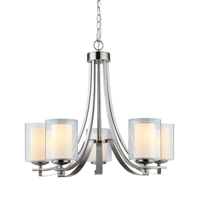 Casselman 5-Light Shaded Chandelier Finish: Satin Nickel