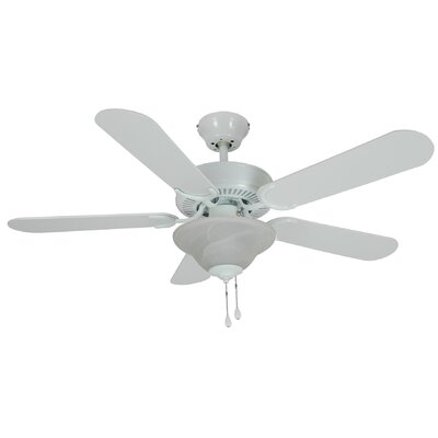 42 Wyndham 5-Blade Ceilling Fan Finish: White