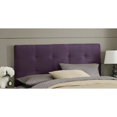 Double Button Tufted Upholstered Panel Headboard Size: Twin, Color: Purple