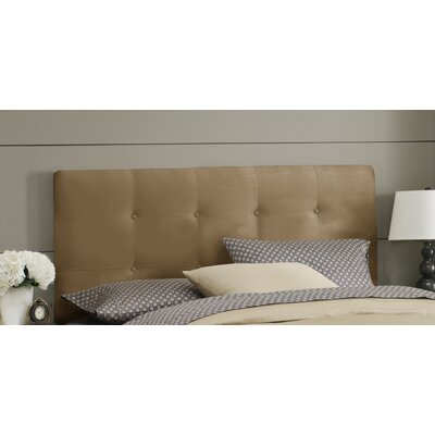 Double Button Tufted Upholstered Panel Headboard Size: King, Color: Khaki