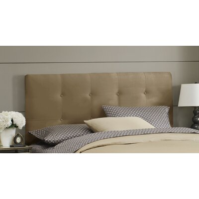 Double Button Tufted Upholstered Panel Headboard Size: Twin, Finish: Saddle