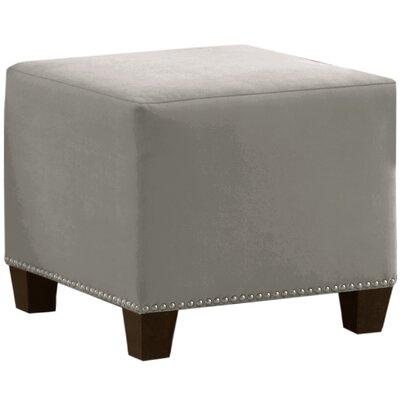 Velvet Ottoman Upholstery: Light Grey