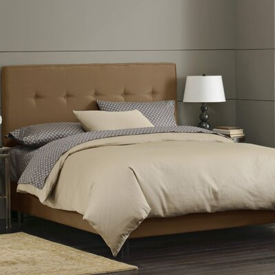 Button Tufted Upholstered Panel Bed Size: Queen, Color: Saddle