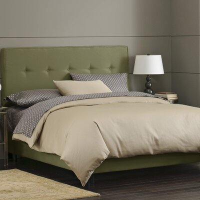 Button Tufted Upholstered Panel Bed Size: Twin, Color: Sage