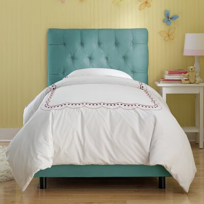 Tufted Panel Bed Size: Twin, Color: Azure