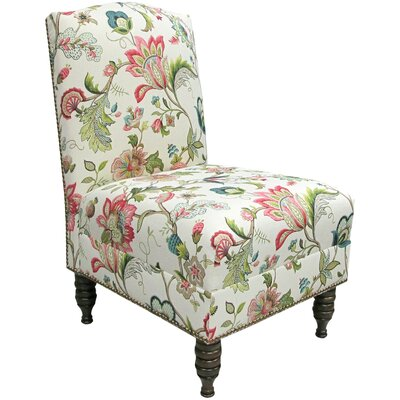 Thurston Slipper Chair Upholstery: Garden Odyssey Fog, Nailhead Trim Detail: Pewter Nailhead