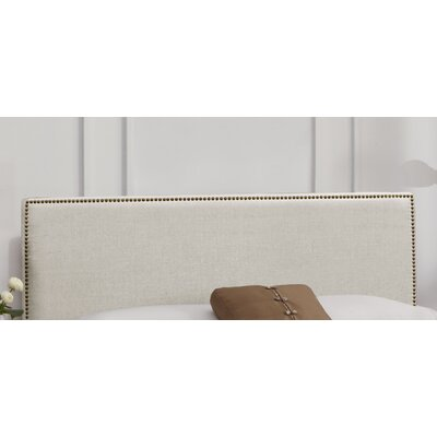 Nail Button Linen Upholstered Panel Headboard Upholstery: Talc, Size: Queen
