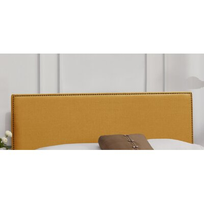 Nail Button Linen Upholstered Panel Headboard Size: Full, Upholstery: Grey