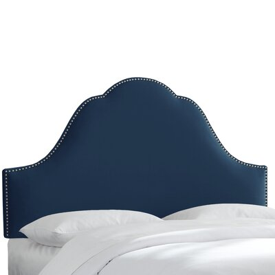 Upholstered Panel Headboard Upholstery: Navy, Size: Queen