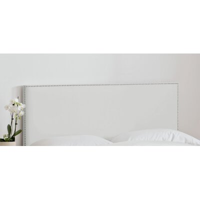 Nail Button Upholstered Panel Headboard Size: Full, Upholstery: Grey