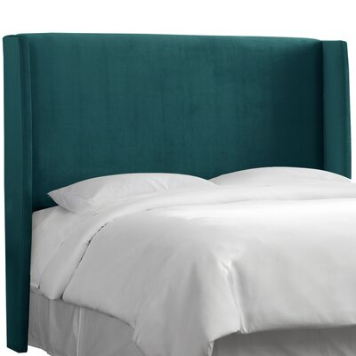 Wingback Upholstered Headboard Size: King, Color: Peacock