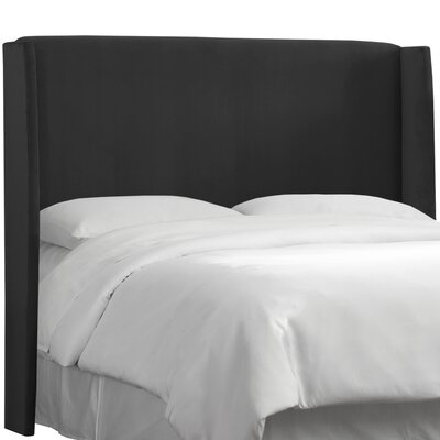 Wingback Upholstered Headboard Size: King, Color: Black