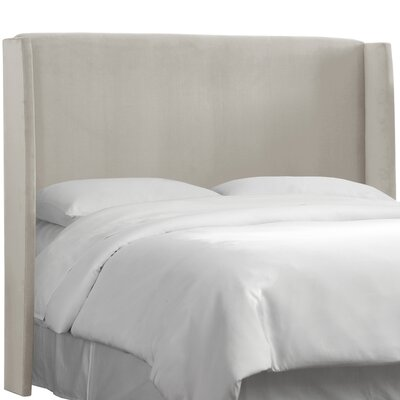 Wingback Upholstered Headboard Size: King, Color: Light Grey