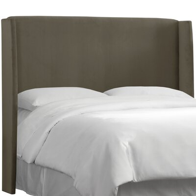 Wingback Upholstered Headboard Size: Full, Color: Pewter
