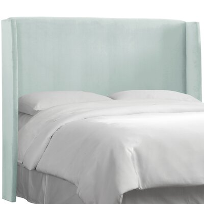 Wingback Upholstered Headboard Size: Full, Color: Pool