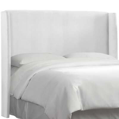 Wingback Upholstered Headboard Size: California King, Color: White