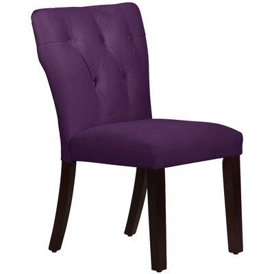 Velvet Tufted Hourglass Side Chair Upholstery: Aubergine