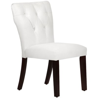 Velvet Tufted Hourglass Side Chair Upholstery: White
