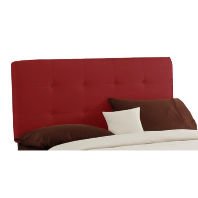 Double Button Tufted Upholstered Panel Headboard Size: Queen, Finish: Red