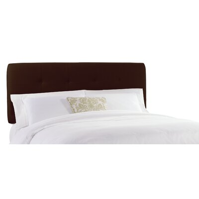 Double Button Tufted Upholstered Panel Headboard Size: Twin, Color: Linen Chocolate