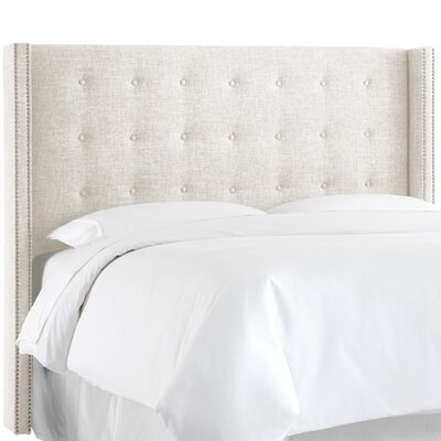 Nail Button Upholstered Wingback Headboard Size: Full, Upholstery: Zuma White