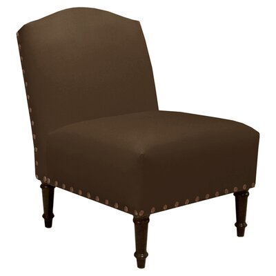 Springdale Camel Back Slipper Chair Upholstery: Velvet Chocolate, Nailhead Detail: Brass Nailhead