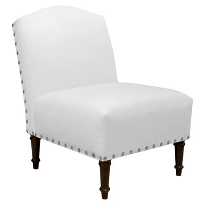Springdale Camel Back Slipper Chair Upholstery: Velvet White, Nailhead Detail: Pewter Nailhead