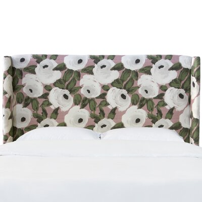 Adalia Bloomsbury Rose Upholstered Wingback Headboard Size: Twin