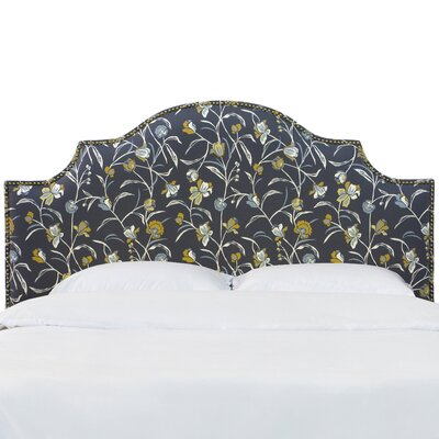 Rowland Nail Button Notched Whisper Floral Upholstered Panel Headboard Size: California King