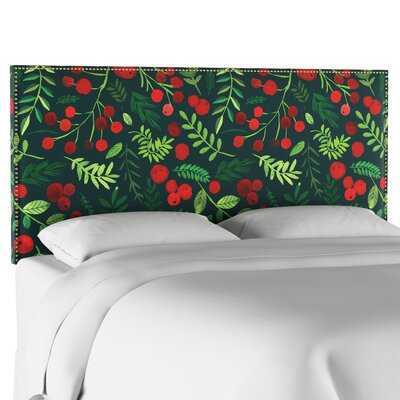 Nail Button Border Upholstered Panel Headboard Size: California King