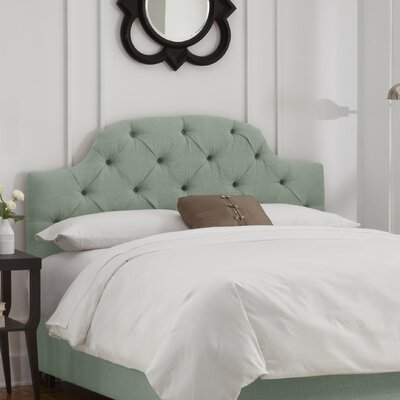 Tufted Upholstered Panel Headboard Size: Twin, Color: Linen Swedish Blue