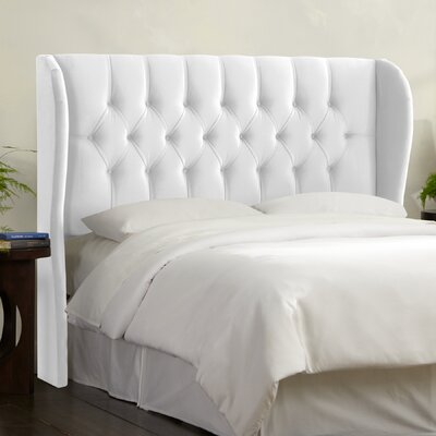 Tufted Upholstered  Wingback Headboard Size: King, Upholstery: White