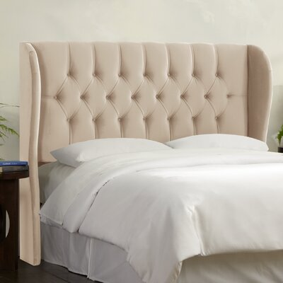 Tufted Upholstered  Wingback Headboard Size: King, Upholstery: Buckwheat
