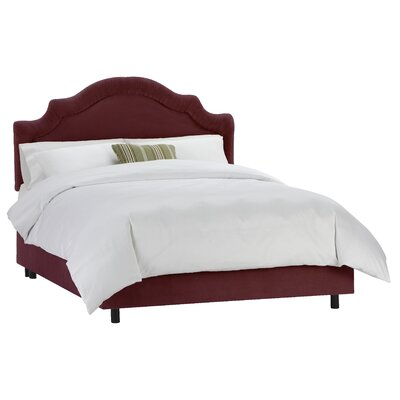 Tufted Arch Upholstered Panel Bed Size: Queen, Color: Velvet Berry