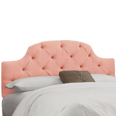 Tufted Upholstered Panel Headboard Size: Full, Color: Linen Petal