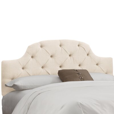 Tufted Upholstered Panel Headboard Size: Twin, Color: Linen Talc