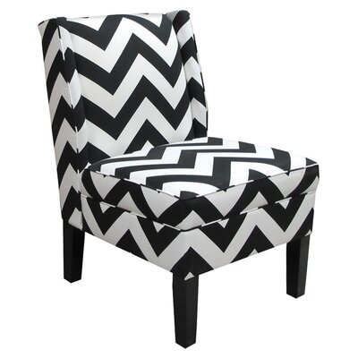 Wingback Chair Upholstery: Zippy Black/White