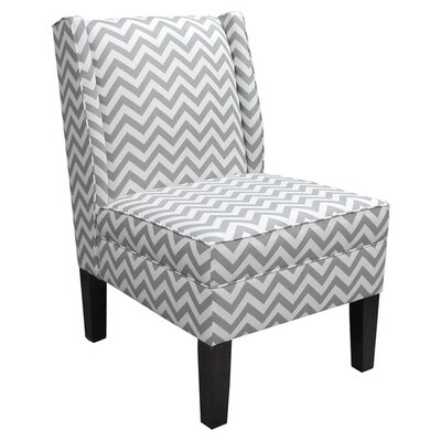 Wingback Chair Upholstery: Zig Zag  Ash/White