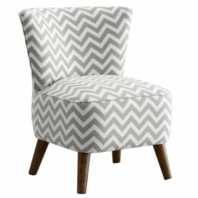 Crown Slipper Chair Upholstery: Zig Zag  Ash/White