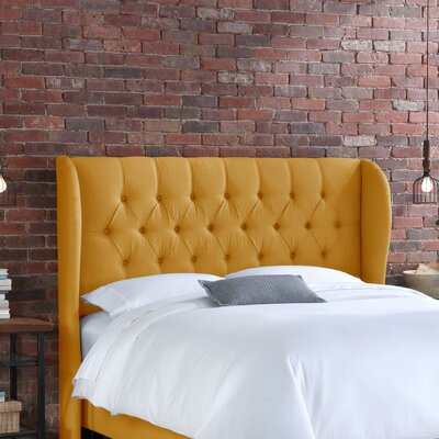 Easy furniture financing Tufted Linen Wingback Headboard Siz...
